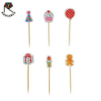 80mm Birch Wood Flag Toothpicks Birthday Party Decorating Toothpicks Party Toothpicks