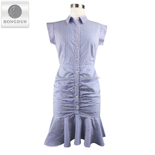 New Design Fashion Women Button Down Shirt Dress Short Sleeve Stripe Bodycon Plated Dress