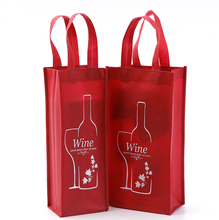 2 bottles non-woven wine bag bottle packing promotion tote bag