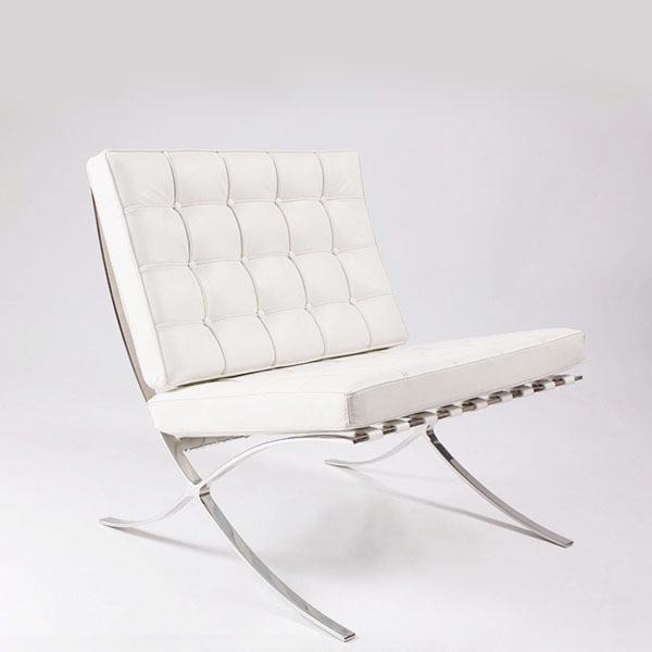 CH093 Living room Stainless Steel frame white leather Barcelona Chair