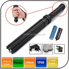 Emergency Led Flashlight Rechargeable Spiked Bat CREE Led 3 Mode Zoom Self defense Tactical Baton Flashlight Zoom Police Torch