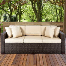 3-seater wicker sofa-brown fiberglass outdoor furniture