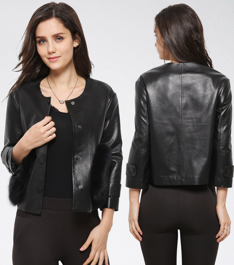 New Short Black Genuine Leather Jacket for Ladies