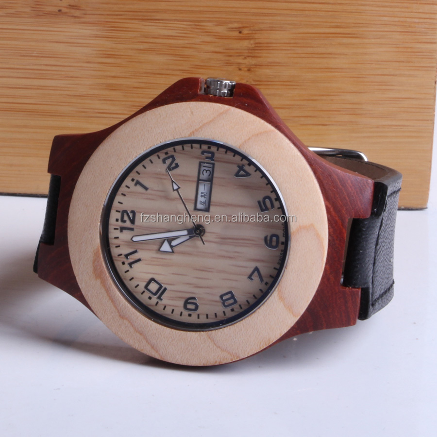 Double Calendar Bamboo Case Leather Wooden Diy Watch