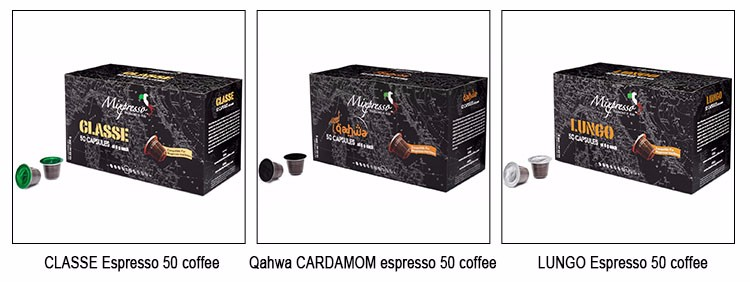 Natural and Organic Kosher Original Italy LUCE Espresso 50 coffee capsules compatible for espresso machine