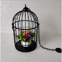 Hanging brief decoration metal bird cage for drawing room , Coffee house Black decoration metal wire bird cage