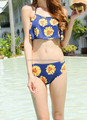 Lady's beautiful sunflower print ruffle neckline halter bikini.