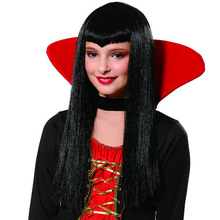 cheap long straight hall synthetic hair halloween vampire cosplay wig for adult women