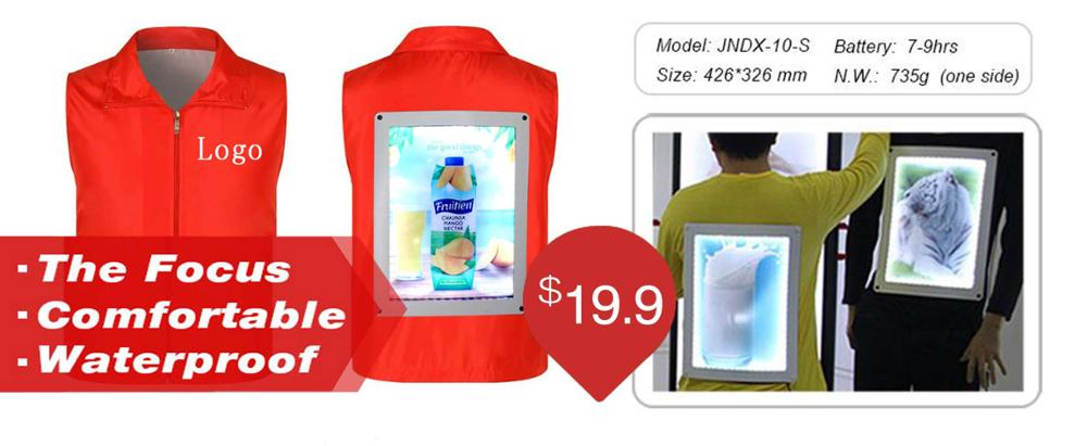 J1-0011 New model double faces LED backpack walking billboard with battery for outdoor advertising