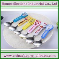 custom steel cutlery set baby spoon and fork with colored plastic animal handle