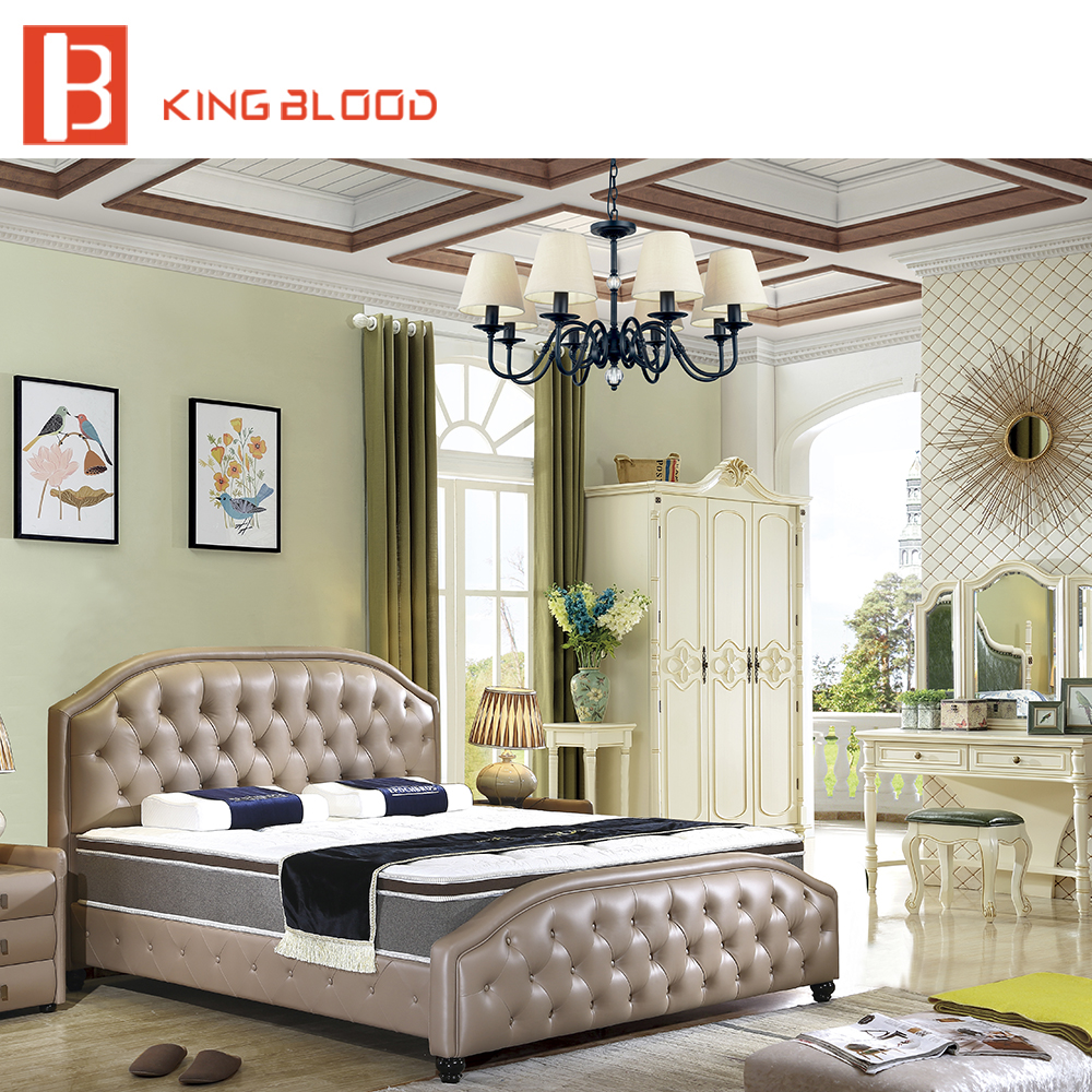 Hot sale italian style King size leather bed for bedroom furniture
