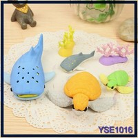 Yiwu Factory china school stationery giant custom ocean animal shape eraser