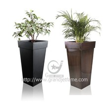 Zinc Metal Bronze Flared Square Planter Plant Flower Pot Tall Large Garden Patio