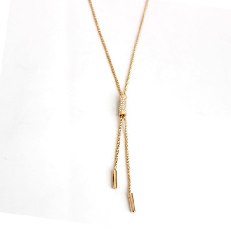 Passion Jewelry Simple Gold Chain Y Shape Rhinestones Long Necklace