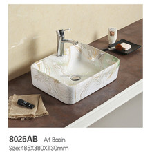 Hotel luxury round bow shape bathroom art basin/ceramic painted wash hand lavabo