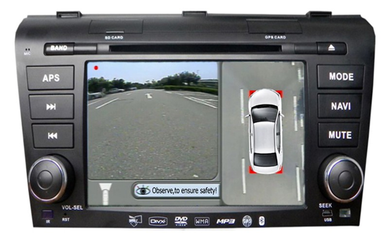 HD cover 360 surround with bird eye view parkview rear back up camera system for Mazda cx7