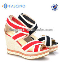 Wholesale Leather Shoes Ladies Fancy Wedge Sandals