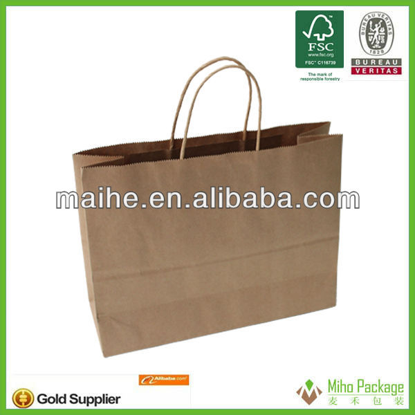 2013 hotsell large size exsiting folded top brown paper bags for sale