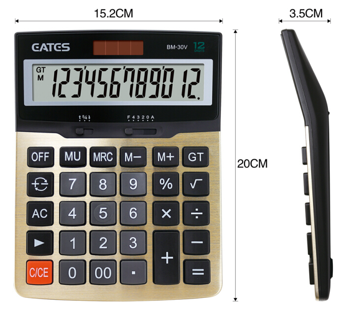 12 digits Calculator financial calculator desktop big LCD Display calculator Solar  battery calculator