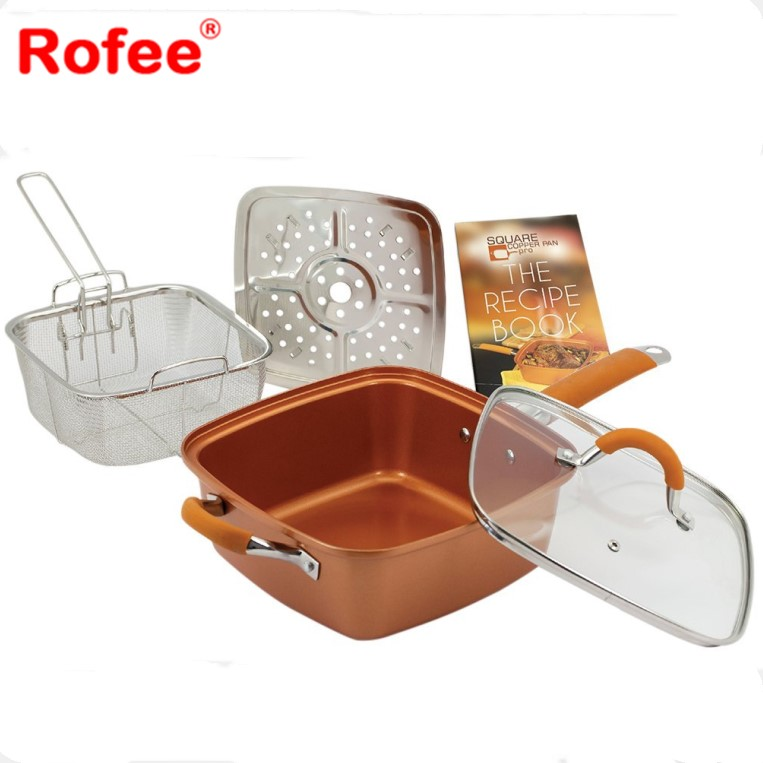 Square Copper Frying Pan with Silicone on the Handle - As Seen On TV Product
