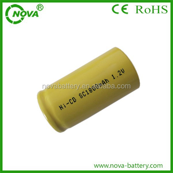 China Manufacturer nicd sc1800mah 1.2v rechargeable battery
