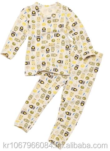 Functional kids underwear pure cotton boy slim sleepwear pajamas green owl