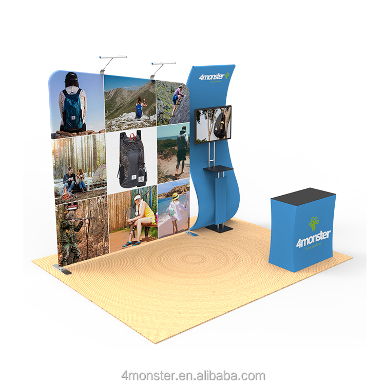 Portable aluminum tube trade <strong>show</strong> 3*3 tension fabric standard exhibition booth for display stand