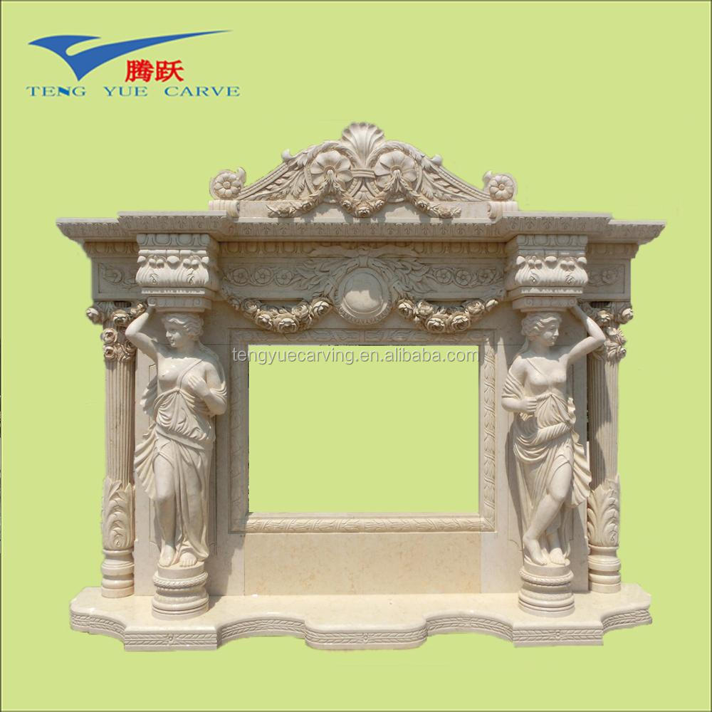 People carved corner electric fireplace with mantel or yellow marble fireplace