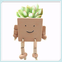 Ceramic Funny Puppet Pot - Novel Earthen Flower Pot for Herbs and Succulent Decorative Display Pot, Square