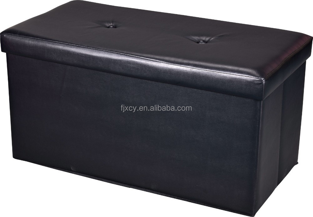 faux leather long storage ottoman for storage seat XCY01-123