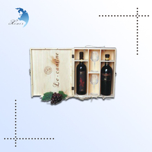 new design folding wooden wine glass packing box with glass cup made in china