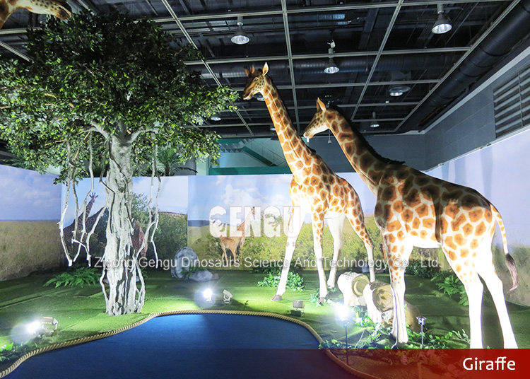 Animal Theme Park Decoration Animatronic Giraffe