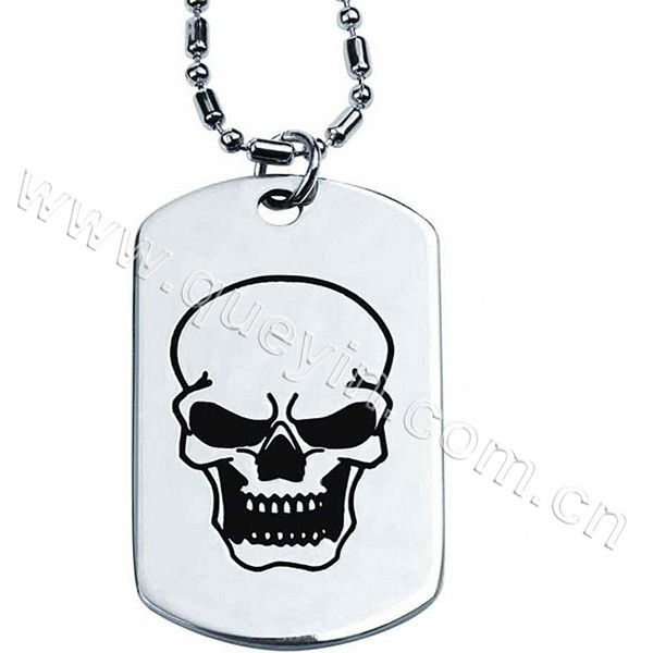 Custom Polished Silver Fashion Dog Tag with Printing Logo