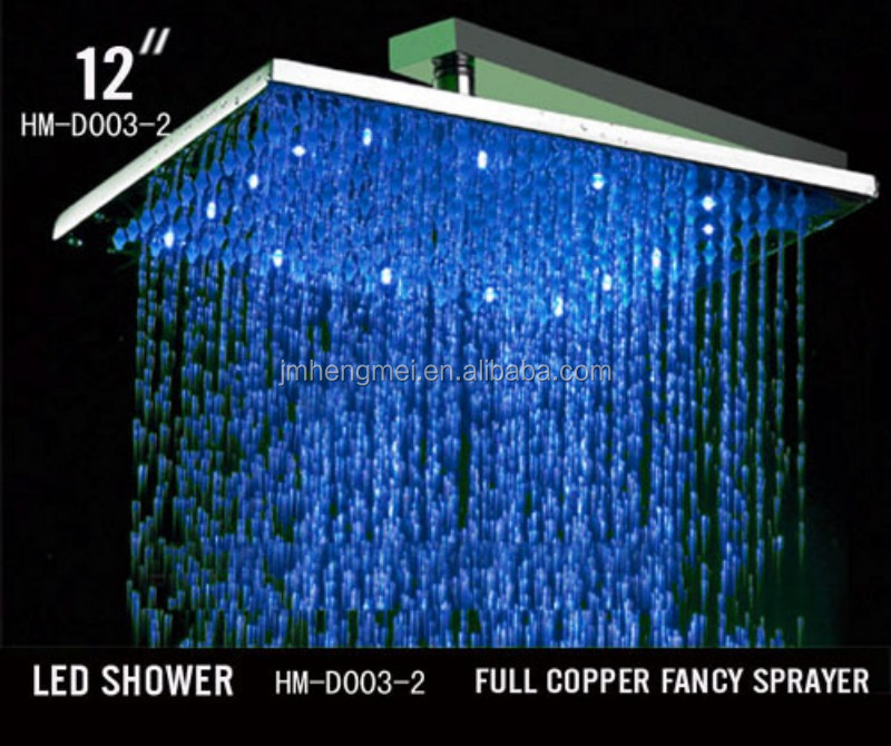 "12"" Bathroom LED Rainfall Shower Head Water Temperature LED Showerhead Rain Shower Brass Chrome"
