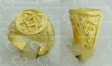 Gents Yellow Gold Ring Signet Masonic Ring