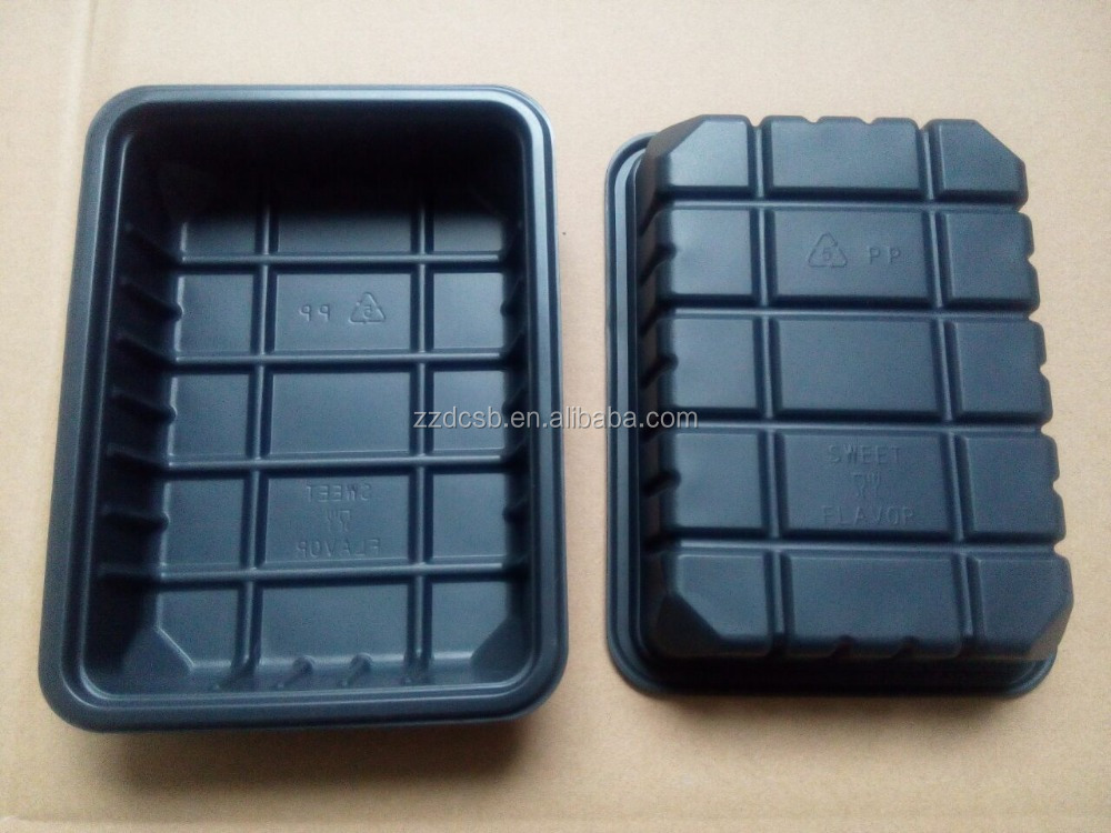 Plastic Black PP Microwaveable Blister Food Tray