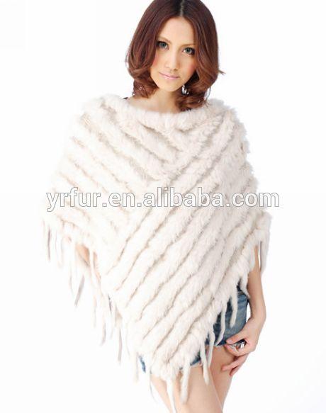 Dames tricot la main motif v ritable fourrure de lapin poncho poncho de fourrure des femmes - Tricot a la main ...