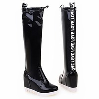 2016 New arrival hot girls knee high boots 7cm increasing height sexy import pu upper material sexy ladies black knee boots