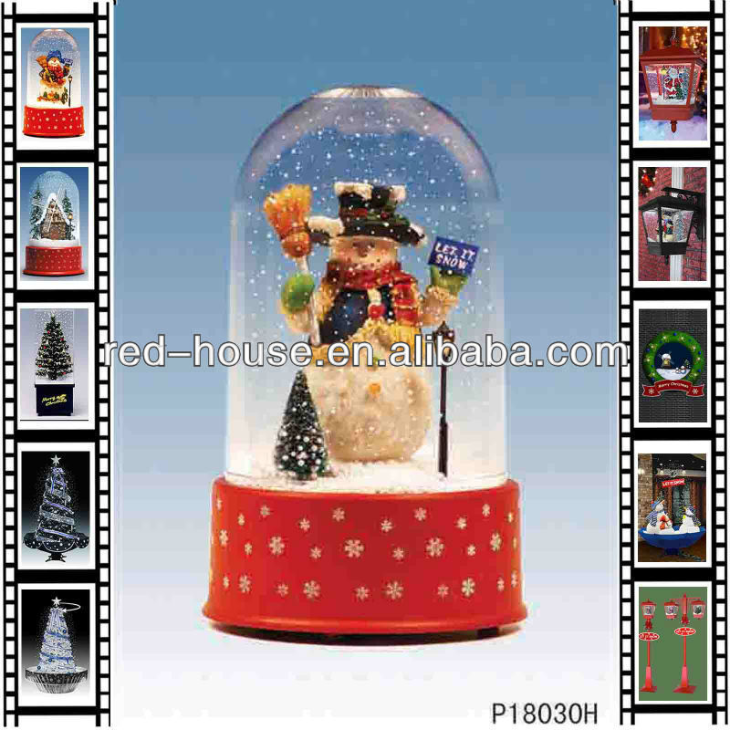 Wholesale Crafts Unique Snowflakes Christmas Crafts with Music Snowman Xmas Snowing Music Box