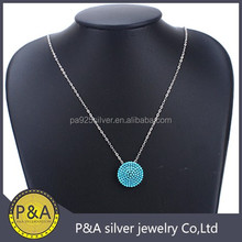 SIlver pave set nano zircon round pizza style without hook lock pendant no bail