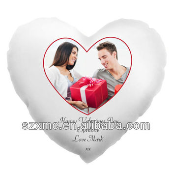 Romantic heart shaped lover photo digital printed throw pillow