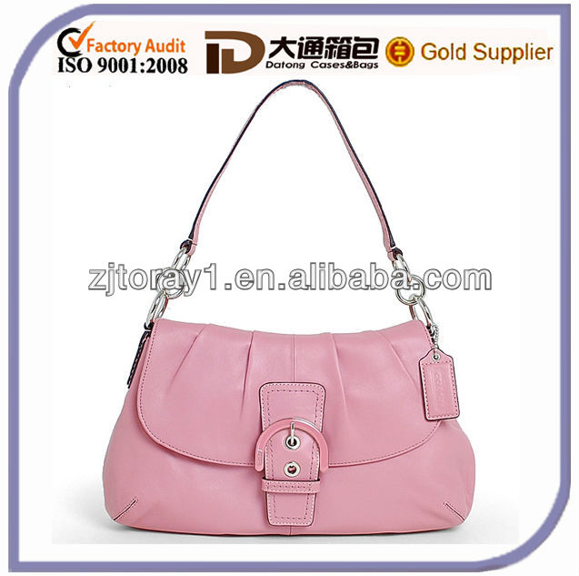 NEW MODEL PLEATED BLUSH LEATHER FLAP BAG SHOULDER PURSES AND HANDBAGS