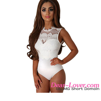 White Lace High Neck Cut Out Back Bodysuit plus size lingerie sexy fat women