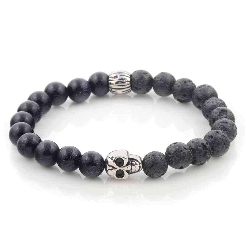 Hot Sale Black Lava And Onyx Gemstone Bead Stainless Steel Silver Plated Skull Bead Bracelet Men