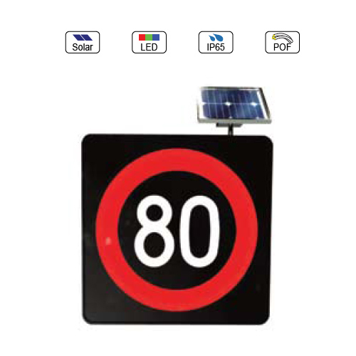 Solar Powered(Charging) Waterproof IP65 Traffic LED & Optical Fiber Sign Light (Velocity 80Km Limit Sign)