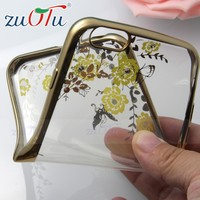 Factory wholesale price elegant flower design electroplate slim tpu case for iphone 6 plus