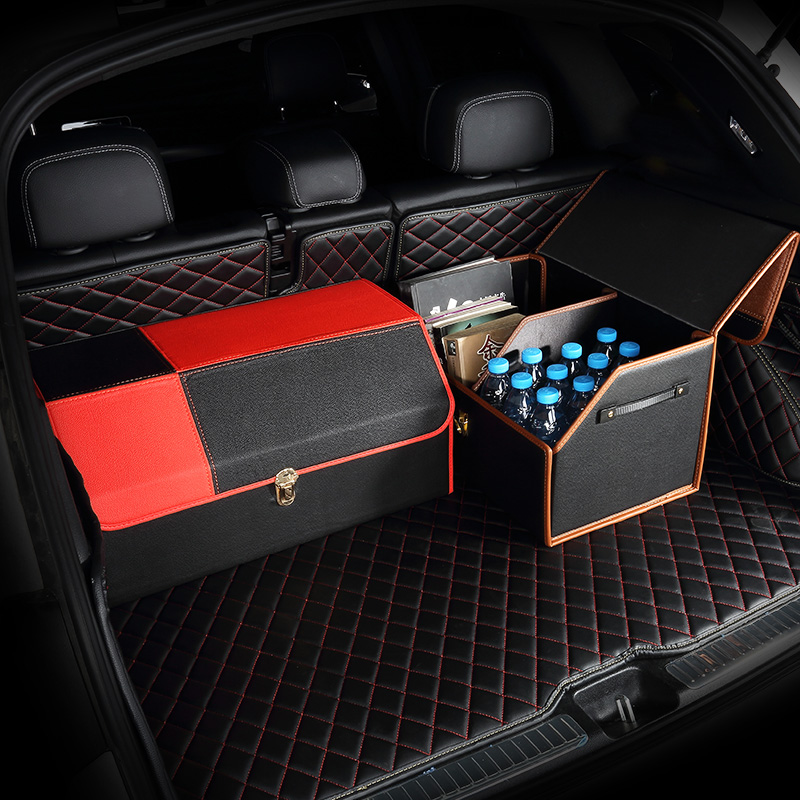 Foldable leather car trunk box sorting box