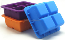 New design food grade ice brick mould 4 cavities silicone Ice Cube Tray