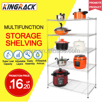 5 Tier Adjustable Chrome Plating Closet Wire Shelving For Kitchenware Wire Shelving Rack