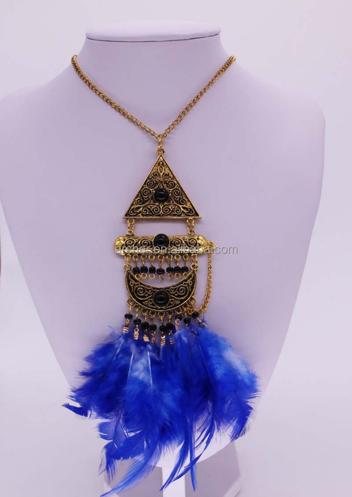 Fashion feather necklace wholesale GJ-092